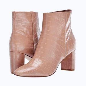 Leather block heel bootie